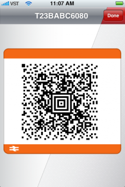 Mobile ticket barcode example picture