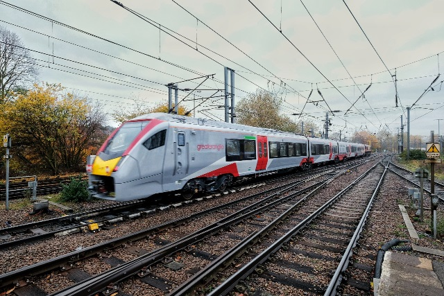 Brand new Greater Anglia Stadler train on a curve leaving Ipswich station