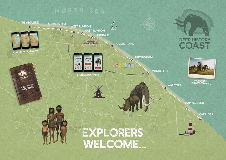 Map trail of the deep history coast - Download the free Deep History Coast app