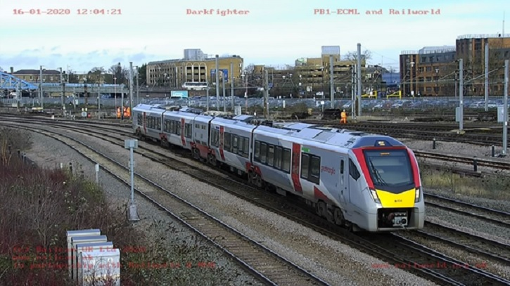 A RailCam camera at Peterborough captures one of Greater Anglia's new trains