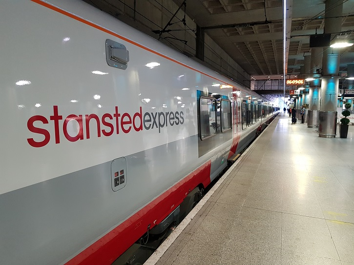 One of the first Stansted Express 'in passenger service' Stadler new trains