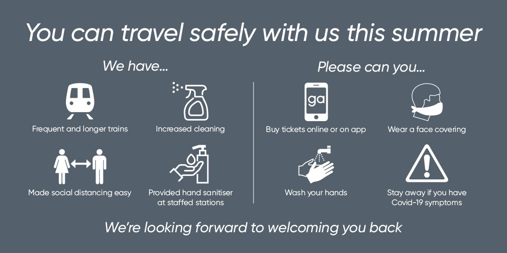 Coronavirus travel advice - please book tickets online or on our app, wear a face covering unless exempt, wash your hands and don't travel if you have any COVID-19 symptoms.