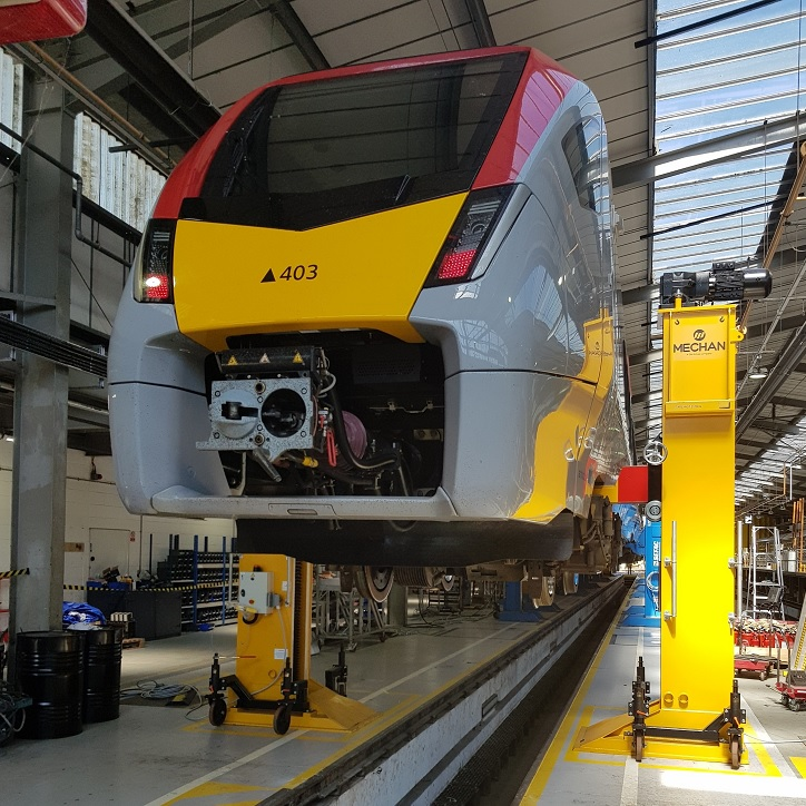 Clacton train lifting facility being used to raise a Stadler train off the ground