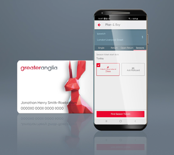 Mobile phone with a Greater Anglia Smart Card
