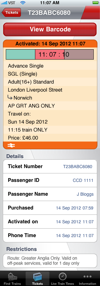 Mobile ticket example picture