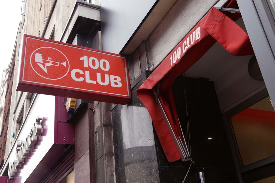 The sign over the entrance of music venue the 100 Club on Oxford Street, central London