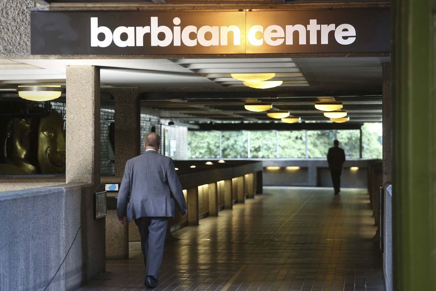 An entrance to the Barbican Centre in the City of London