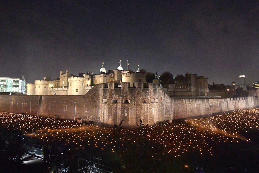 Thousands of flames in the dry moat of the Tower of London as part of an installation called Beyond the Deepening Shadow: The Tower Remembers, to mark the centenary of the end of First World War