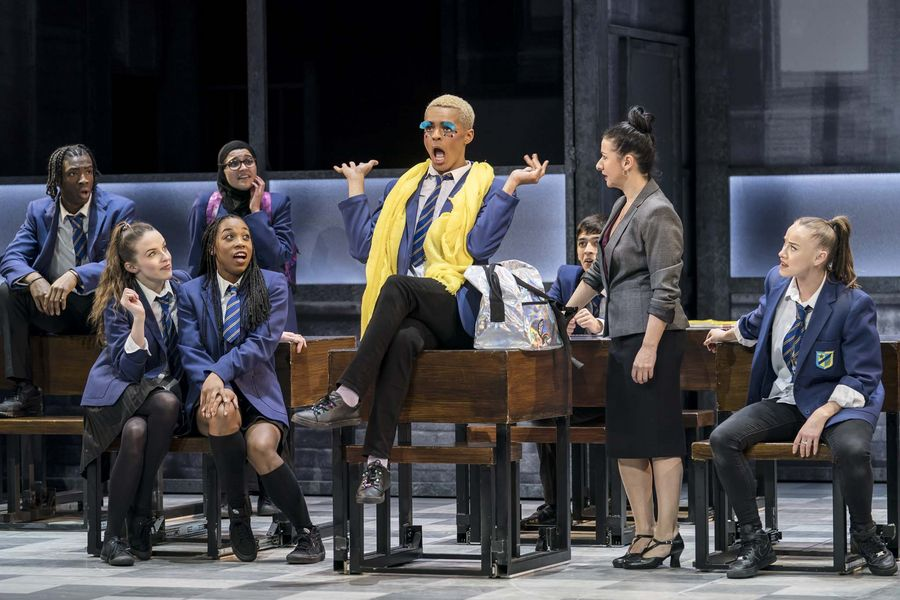 Layton Williams as Jamie, Hayley Tamaddon as Miss Hedge and the ensemble in Everybody's Talking About Jamie, directed by Jonathan Butterfield