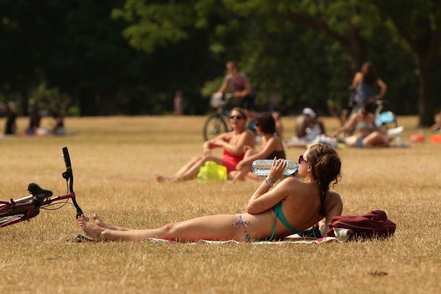 Sunbathers enjoying the hot weather in Hyde Park, central London