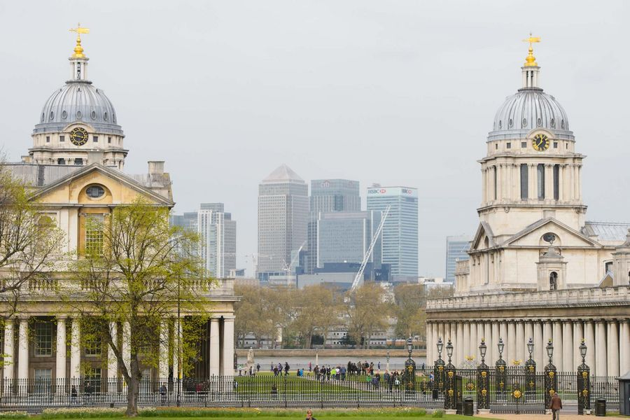 General view of the Old Royal Naval College in Greenwich, east London, and Canary Wharf