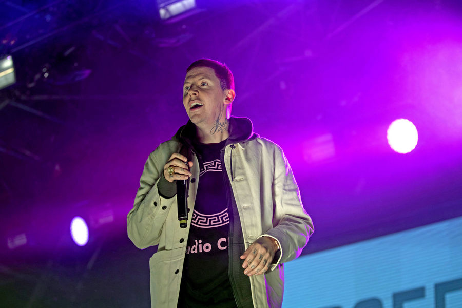 Professor Green performs on the main stage during the Big Feastival at Alex James' farm in Kingham, Oxfordshire