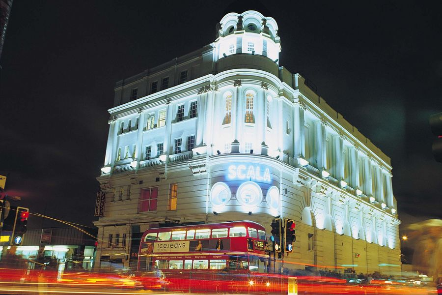 A night time exterior image of the Scala in London