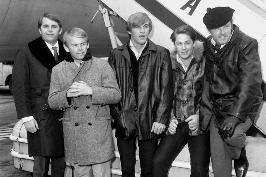 The American pop singing The Beach Boys arrive at London Airport from New York by BOAC liner
