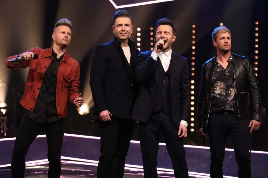 Westlife (Nicky Byrne, Markus Feehily, Shane Filan and Kian Egan) during the filming for the Graham Norton Show at BBC Studioworks 6 Television Centre, Wood Lane, London