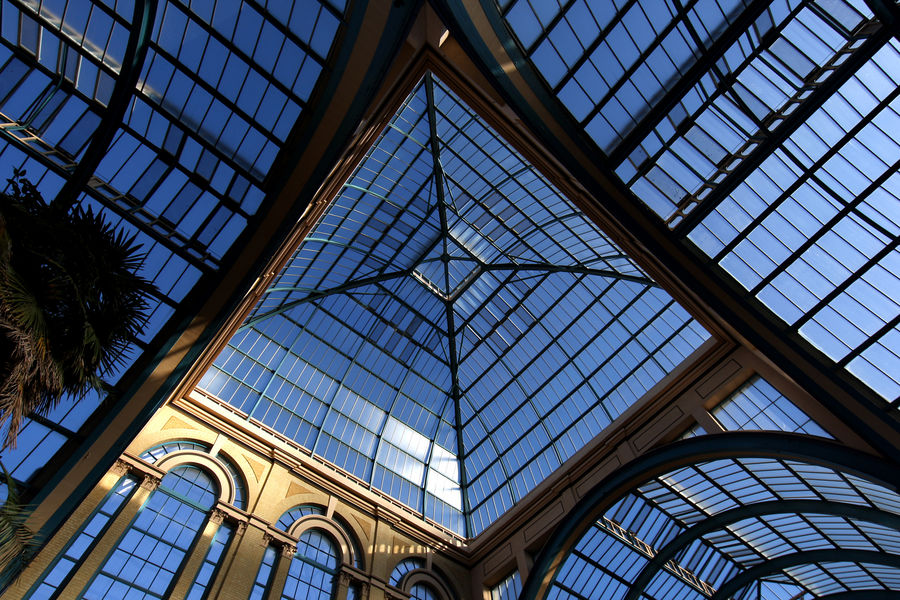 The Victorian iron and glass roof of part of the Alexander Palace in north London