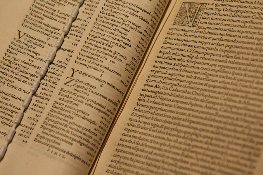 A view of the British Library's copy of Novus Orbis Rgionum, dating from 1537