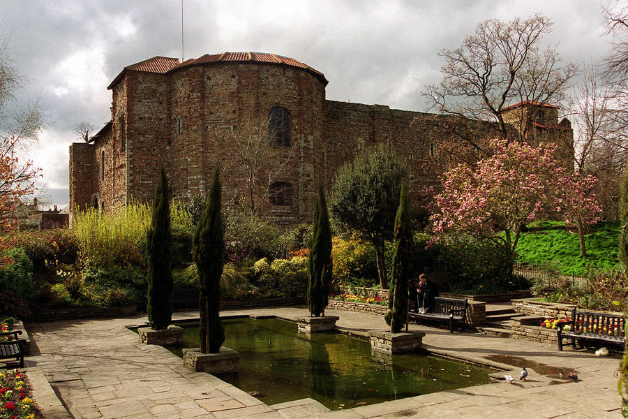 A general view of Colchester Castle and its grounds