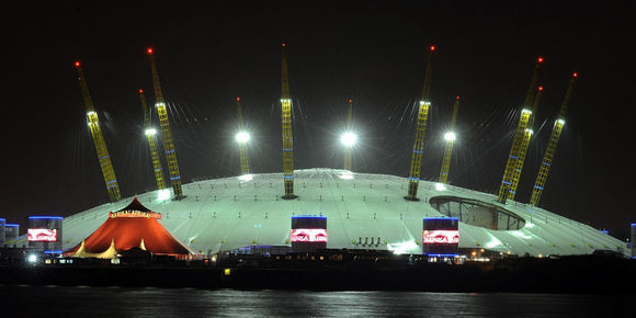 The lights at the O2 arena as London ignores the Earth Hour, when lights are turned off as a demonstration of savings that could be made to cut carbon emissions