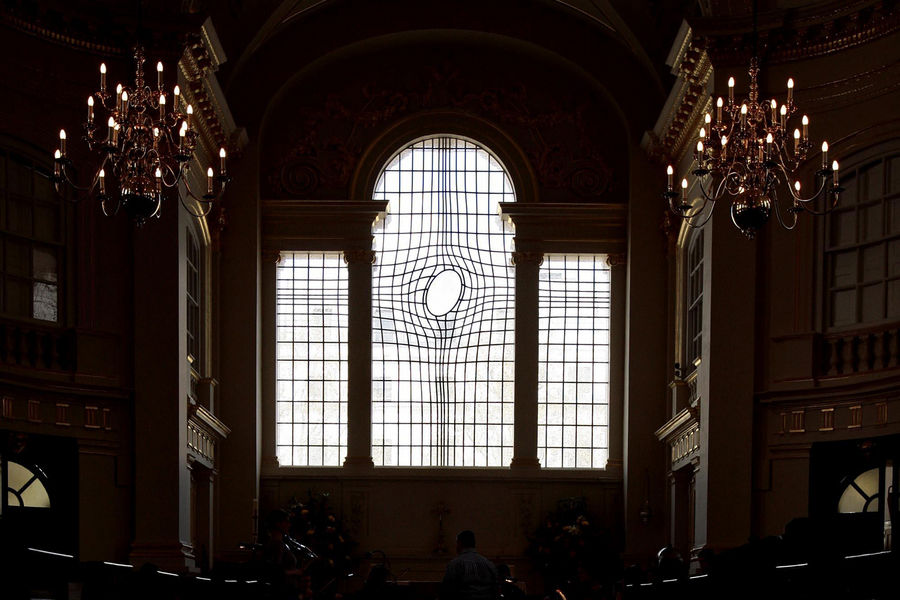 The interior of the newly refurbished St Martin-in-the-Fields church in central London, designed by artist Shirazeh Houshiary and architect Pip Horne