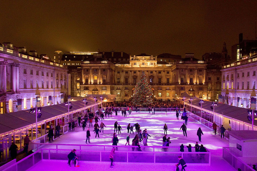 A general view of the first evening after opening of the Somerset House Ice Rink in London