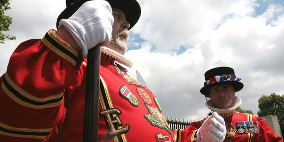 Two beefeaters at the Tower of London