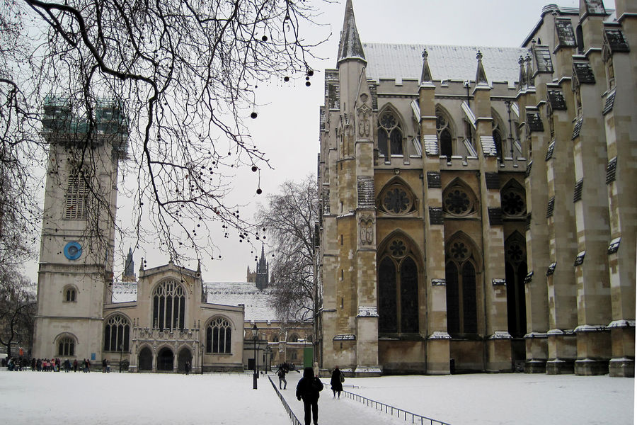 A general view of Westminster Abbey, London, as much of Britain woke up to a blanket of snow after the big freeze brought dumps of up to 16cm, grounded planes and caused road and rail disruption