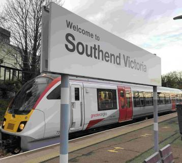 New bombardier train next to 'welcome to southend victoria' sign