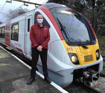 Driver David Clibbens with the first Bombardier in passenger service