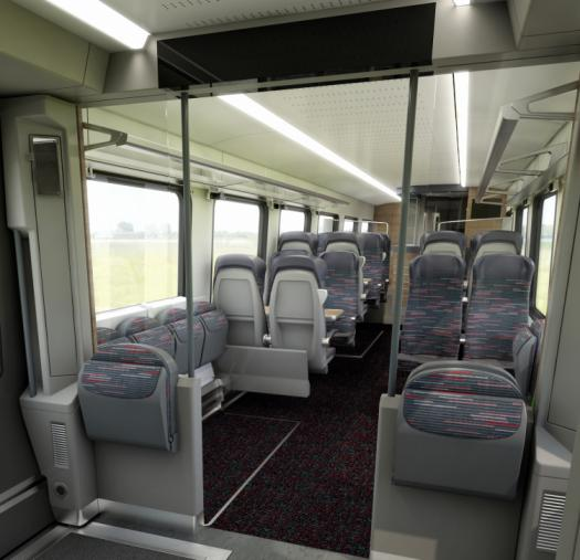 Interior view of intercity standard class carriages