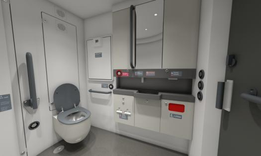 Interview view of Stadler Flirt train showing universal access toilet