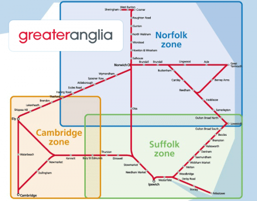 Anglia Plus network map