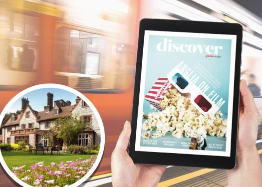 Greater Anglia magazine alongside image of competition hotel