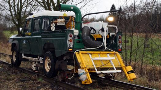A rail track cleaning vehicle