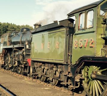 An old green train at the North Norfolk Railway