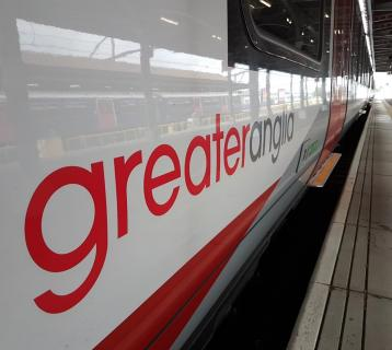 Greater Anglia logo on side of train