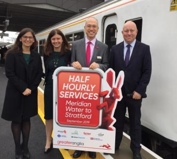 Left to right: Cllr Nesil Caliskan, Enfield Council, Kate Warner, Director of Route Business Development, Network Rail, Jonathan Denby, Head of Corporate Affairs, Greater Anglia and Steve Vidler, Network Rail.