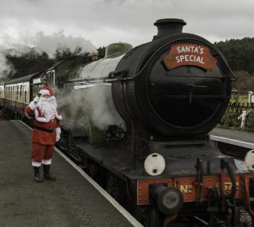 Santa and a steam train