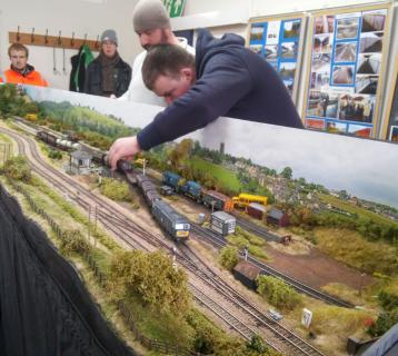 Railway modellers at March station