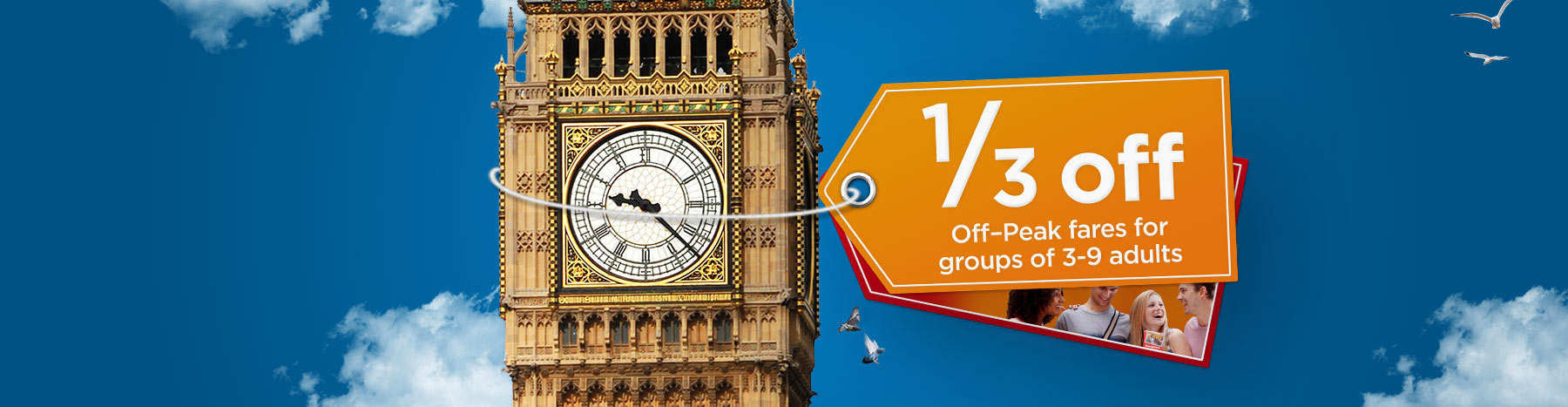 Discount on off-peak fares for groups of 3-9 adults