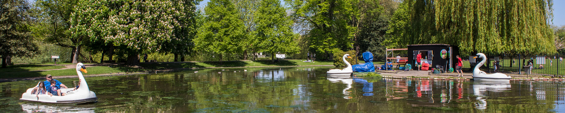The boating lake at Colchester Castle Park