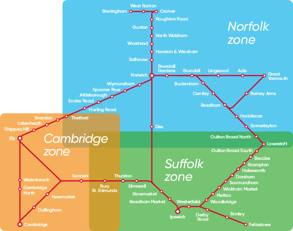 Anglia Plus Zones map.
