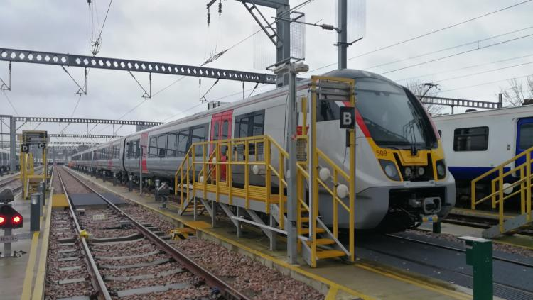 First of Greater Anglia's new electric trains made by Bombardier arrives in region
