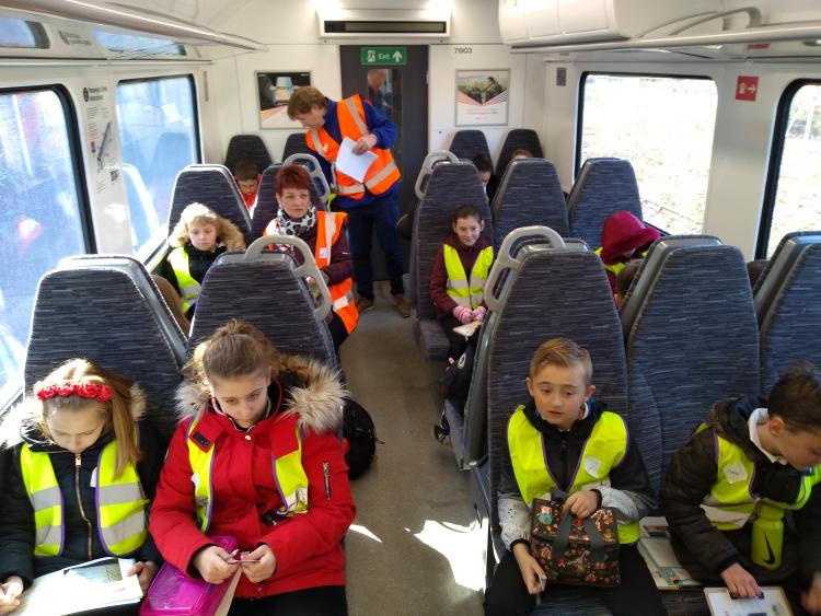 Pupils swap classroom for rail station waiting room for