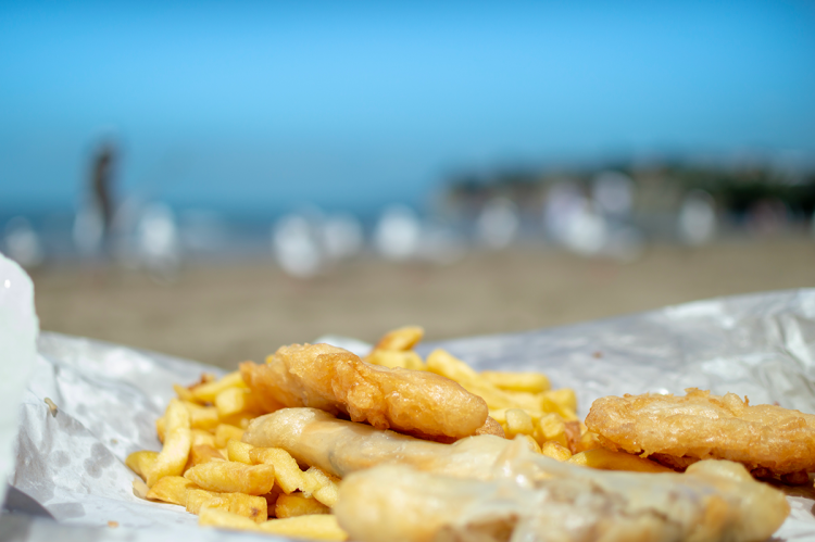 Fish and chips on the beach