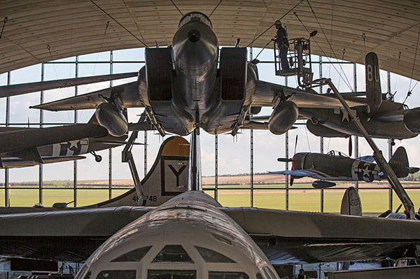 Aircraft on display at the Imperial War Museum in Duxford