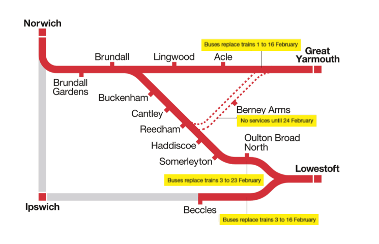 Map of areas affected by the engineering works