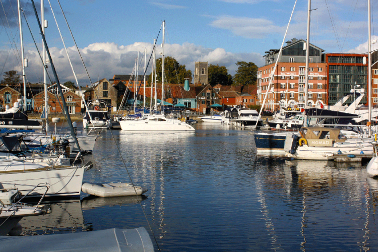 The historic waterfront in Ipswich
