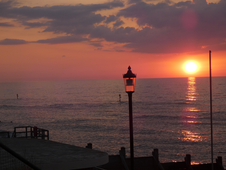 Sunset over the sea in Sheringham