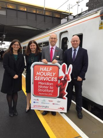 <p>Left to to right: Cllr Nesil Caliskan, Enfield Council, Kate Warner, Director of Route Business Development, Network Rail, Jonathan Denby, Head of&nbsp;Corporate Affairs, Greater Anglia and Steve Vidler, Network Rail.</p>